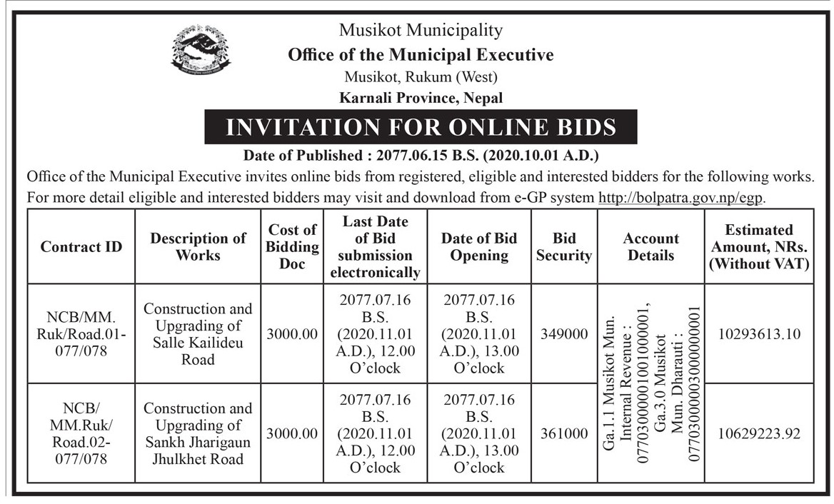 Invitation for Online Bids only